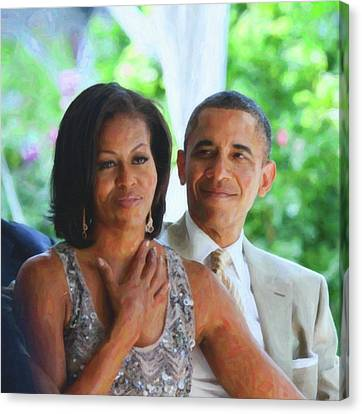 Michelle Obama Canvas Print - Barack And Michelle Obama by Asar Studios