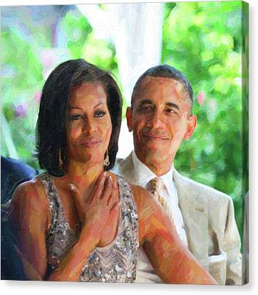 Michelle Obama Canvas Print - Barack And Michelle Obama by Celestial Images