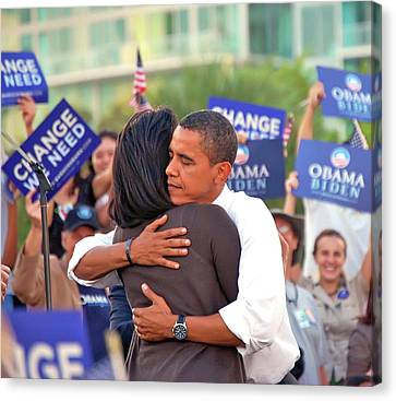 Barack And Michelle Canvas Print by Richard Pross