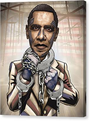 Barack Obama - Stimulate This Canvas Print by Sam Kirk