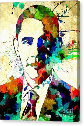Barack Obama Canvas Print - Barack Obama Grunge by Daniel Janda