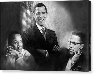 Barack Obama Canvas Print - Barack Obama Martin Luther King Jr And Malcolm X by Ylli Haruni