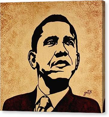 Barack Obama Original Coffee Painting Canvas Print by Georgeta  Blanaru