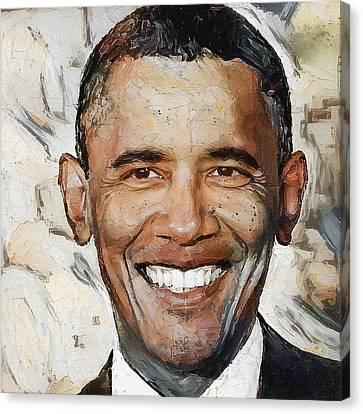Barack Canvas Print - Barack Obama Portrait 1 by Yury Malkov