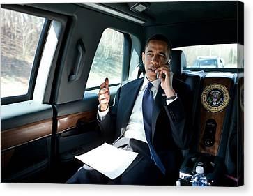 Barack Obama Talks To A Member Canvas Print by Everett