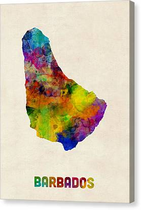 Barbados Watercolor Map Canvas Print by Michael Tompsett