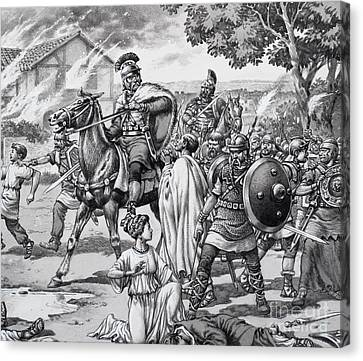Barbarian Attack On The Romano British Canvas Print by Pat Nicolle