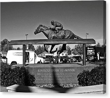 Barbaro Statue At Churchill Downs In Black And White Canvas Print by Marian Bell