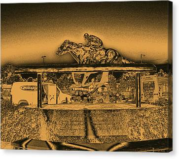 Barbaro Statue At Churchill Downs In Gold Tones Canvas Print by Marian Bell