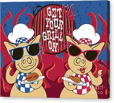 Hamburger Canvas Print - Barbecue Pigs by Shari Warren