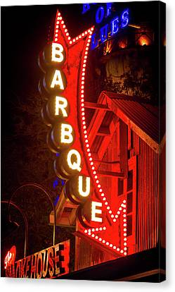Canvas Print featuring the photograph Barbeque Smokehouse by Mark Andrew Thomas