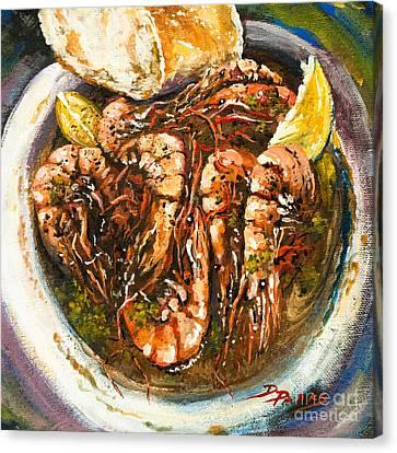 Abita Amber Beer Canvas Print - Barbequed Shrimp by Dianne Parks