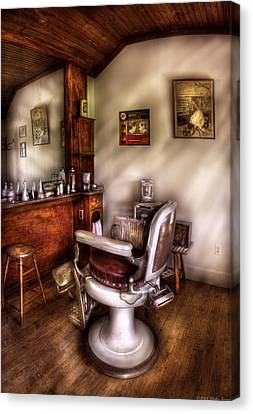 Barber - In The Barber Shop  Canvas Print by Mike Savad