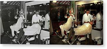 Canvas Print featuring the photograph Barber - A Time Honored Tradition 1941 - Side By Side by Mike Savad