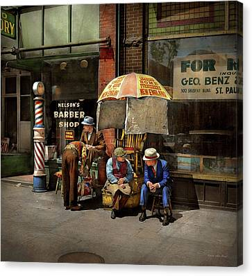 Barber - At Nelson's Barber Shop 1937 Canvas Print by Mike Savad