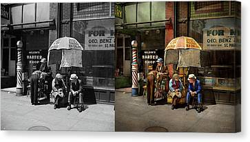 Barber - At Nelson's Barber Shop 1937 - Side By Side Canvas Print by Mike Savad