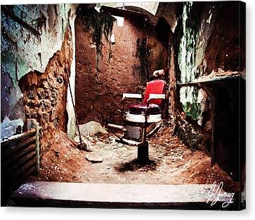 Barber Chair Of Eastern State Penn Canvas Print by Joshua Zaring