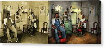 Canvas Print - Barber - Family Owned 1942 - Side By Side by Mike Savad