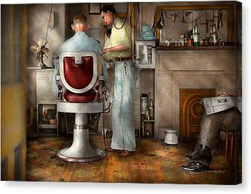 Barber - Our Family Barber 1935 Canvas Print by Mike Savad