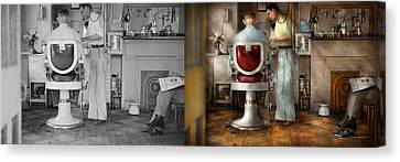 Barber - Our Family Barber 1935 - Side By Side Canvas Print by Mike Savad