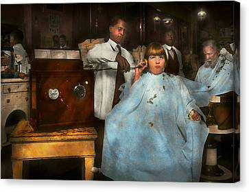 Barber - Portable Music Player 1921 Canvas Print by Mike Savad