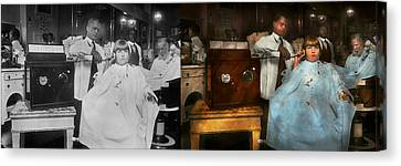 Barber - Portable Music Player 1921 - Side By Side Canvas Print by Mike Savad