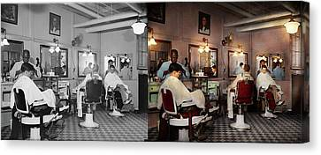 Canvas Print featuring the photograph Barber - Senators-only Barbershop 1937 - Side By Side by Mike Savad
