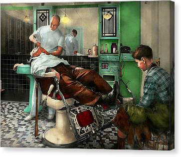 Barber - Shave - Pennepacker's Barber Shop 1942 Canvas Print by Mike Savad