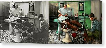 Barber - Shave - Pennepacker's Barber Shop 1942 - Side By Side Canvas Print by Mike Savad
