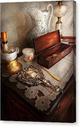 Barber - The Morning Ritual Canvas Print by Mike Savad