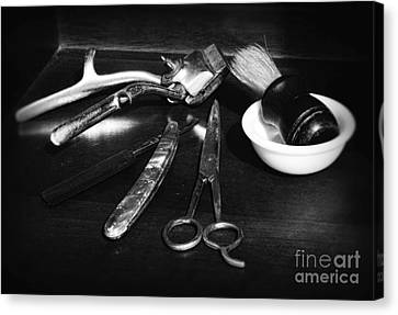 Barber - Things In A Barber Shop - Black And White Canvas Print