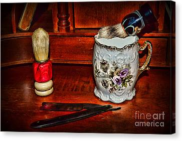 Barberchairs Canvas Print - Barber Time For A Shave by Paul Ward