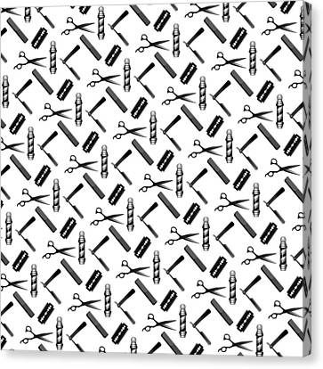 Barber's Shop Pattern Canvas Print by Early Kirky
