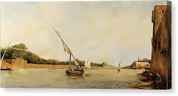 barca sul Nilo Canvas Print