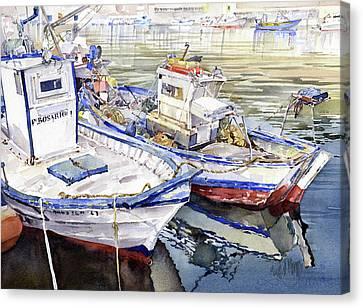 Barcas En El Puerto Almeria Canvas Print