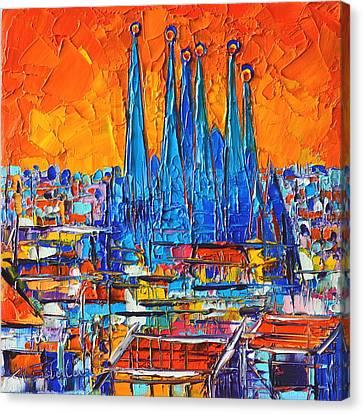 Barcelona Abstract Cityscape 7 - Sagrada Familia Canvas Print by Ana Maria Edulescu