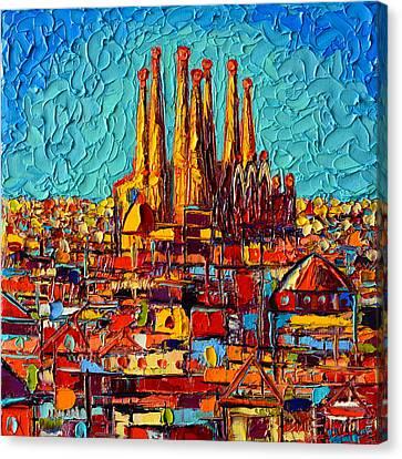 Barcelona Abstract Cityscape - Sagrada Familia Canvas Print by Ana Maria Edulescu