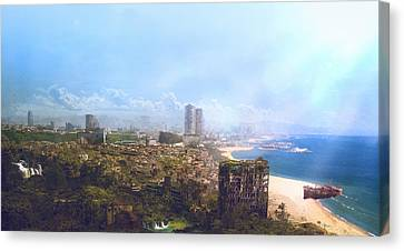 Science Fiction Canvas Print - Barcelona Aftermath La Barceloneta by Guillem H Pongiluppi