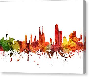 Barcelona Cityscape 04 Canvas Print by Aged Pixel