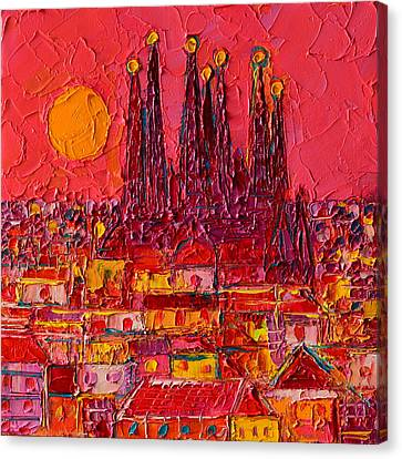 Barcelona Moon Over Sagrada Familia - Palette Knife Oil Painting By Ana Maria Edulescu Canvas Print