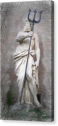 Barcelona - Neptune Statue Canvas Print by Joaquin Abella