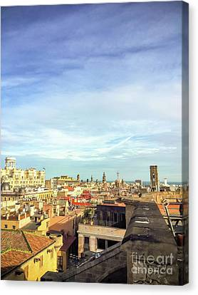 Canvas Print featuring the photograph Barcelona Rooftops by Colleen Kammerer