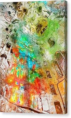 Barcelona, Sagrada Familia - Watercolor 01  Canvas Print