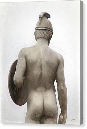 Barcelona - Sculpture Of The God Mars. Canvas Print by Joaquin Abella