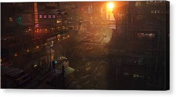 Barcelona Smoke And Neons Districte Sant Joan Canvas Print by Guillem H Pongiluppi