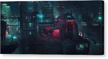 Barcelona Smoke And Neons Eixample Canvas Print by Guillem H Pongiluppi