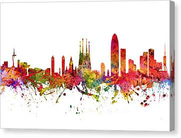 Barcelona Spain Cityscape 08 Canvas Print by Aged Pixel