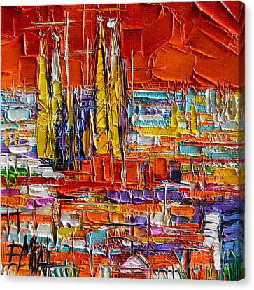 Barcelona Canvas Print - Barcelona View From Parc Guell - Abstract Miniature by Mona Edulesco