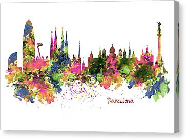 Barcelona Watercolor Skyline Canvas Print by Marian Voicu
