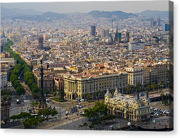 Puerto Rico Canvas Print - Barcelona With Tree-lined Las Ramblas by Annie Griffiths